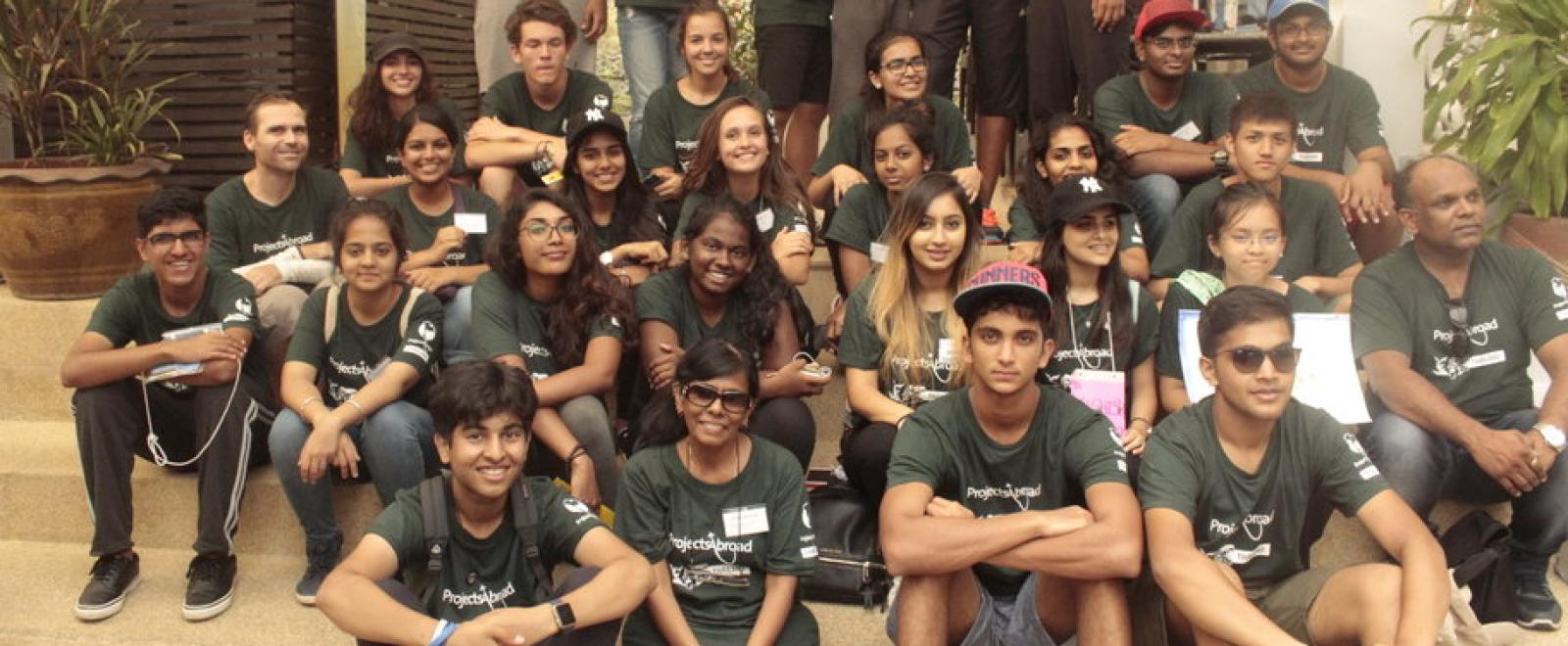 A group of students from the Canadian International School in India on a volunteer trip to Thailand.